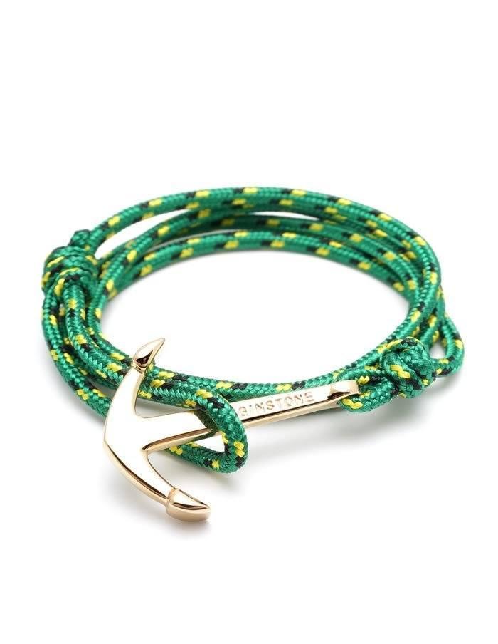 Zelený náramok Jamaica so zlatou kotvou