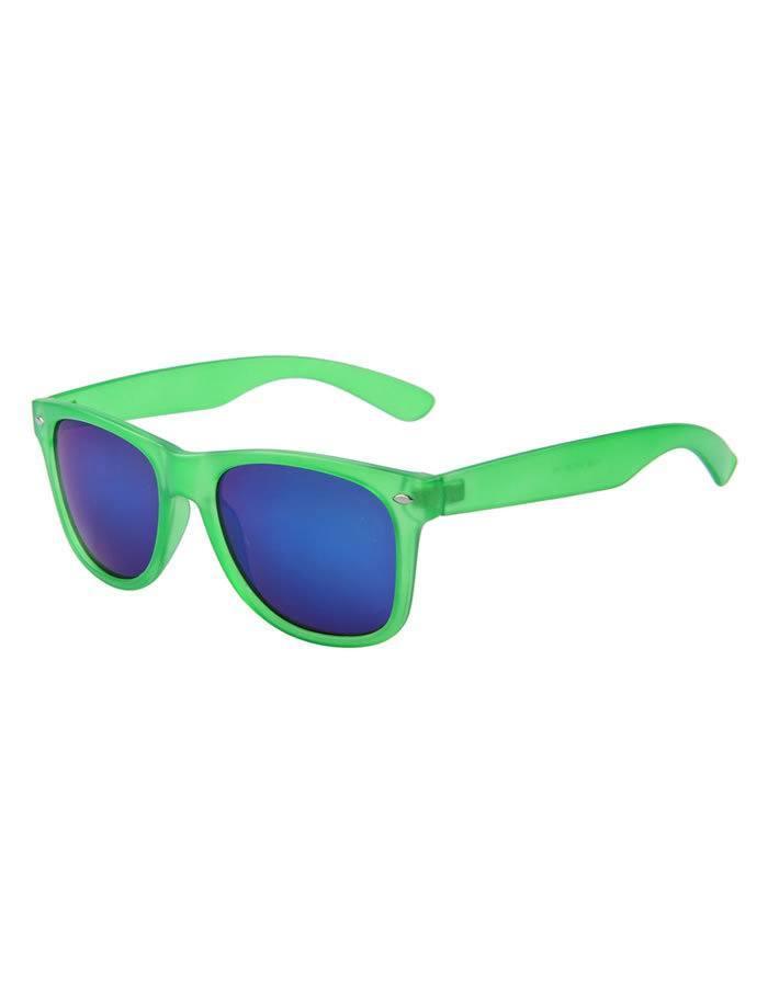 Zelené okuliare Wayfarer so zrkadlovými sklami